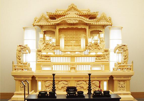 越谷市斎場 常設の白木祭壇