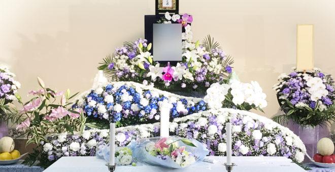 生花祭壇 ART061 男性用にブルー系でさわやかに