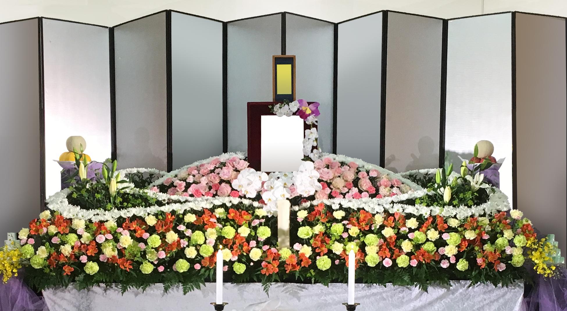 生花祭壇 ART103 ピンク・オレンジをメインに